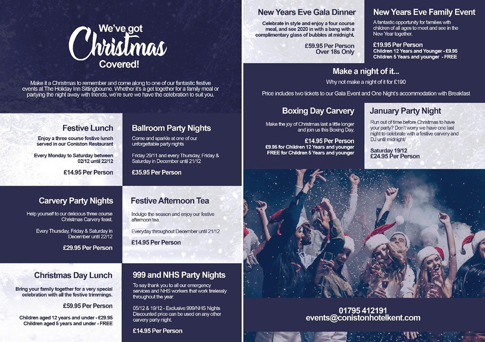 Holiday Inn  Sittingbourne Festive Party & Dining Options